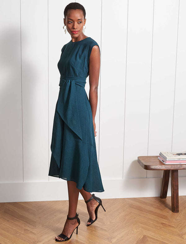Freya Dipped Hem Midi Dress - Petrol Blue