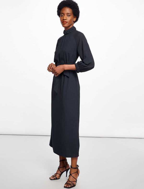 Lauren Gathered Funnel Neck Maxi Dress - Navy