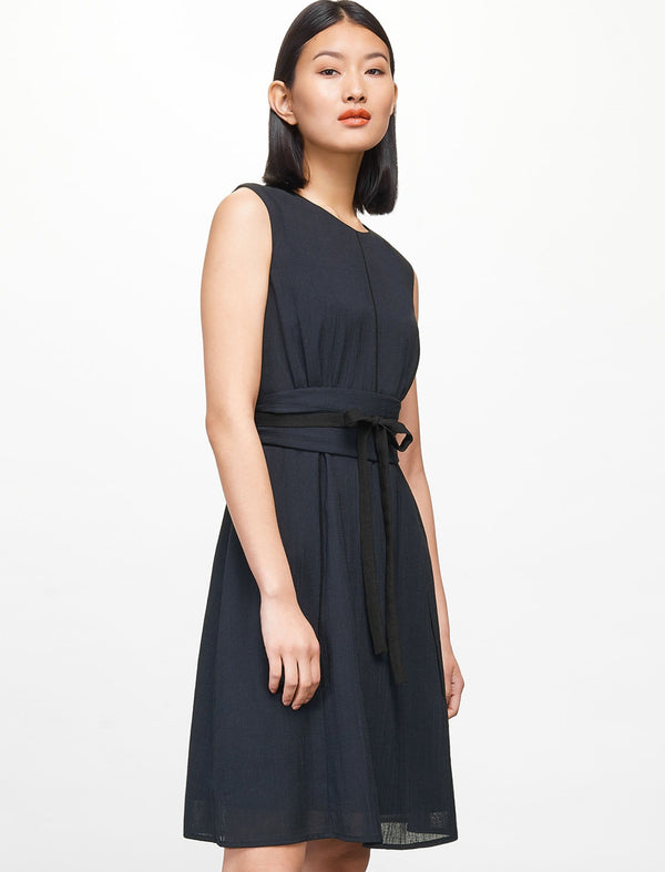 Rosie Sleeveless Knee Length Dress - Navy