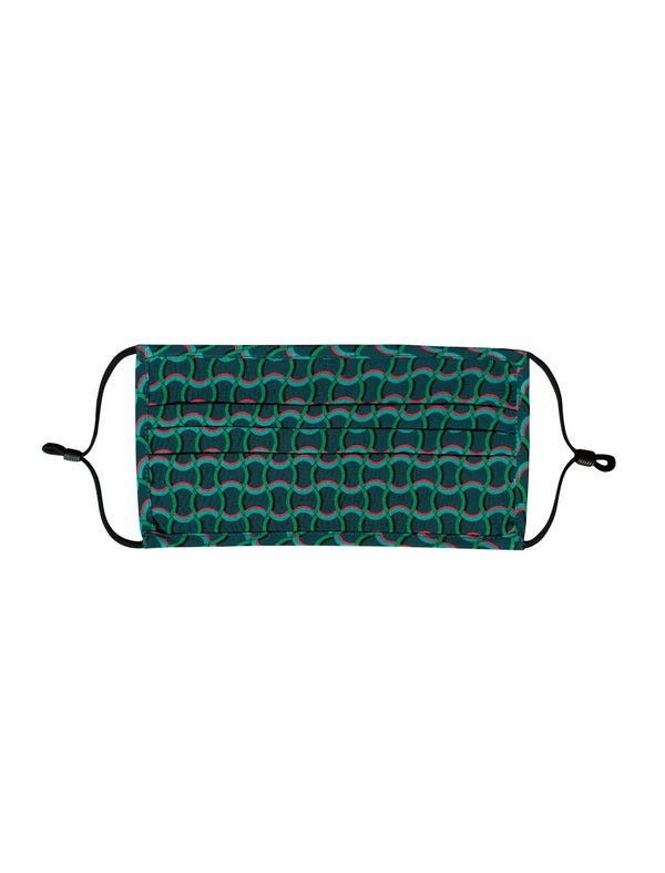 Silk Face Mask - Emerald Green Circle Geo Print