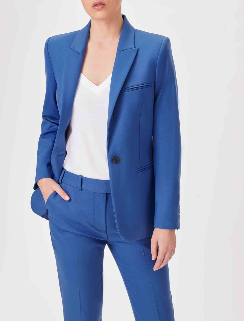 womens wool blazer blue