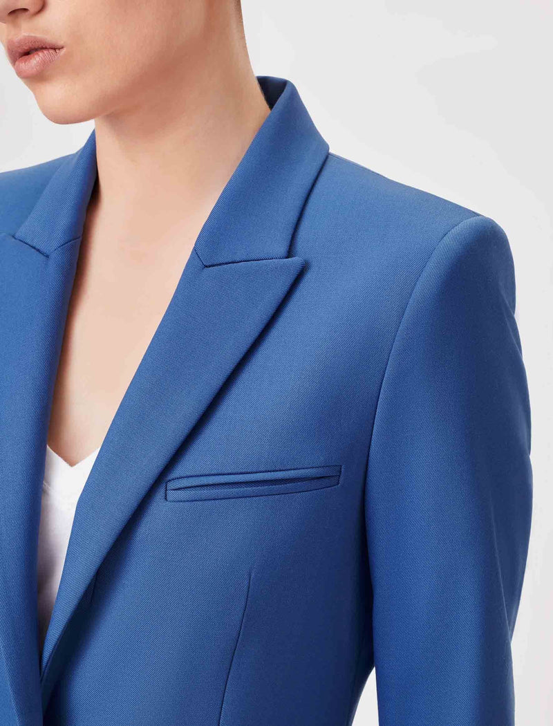 blue wool blazer womens