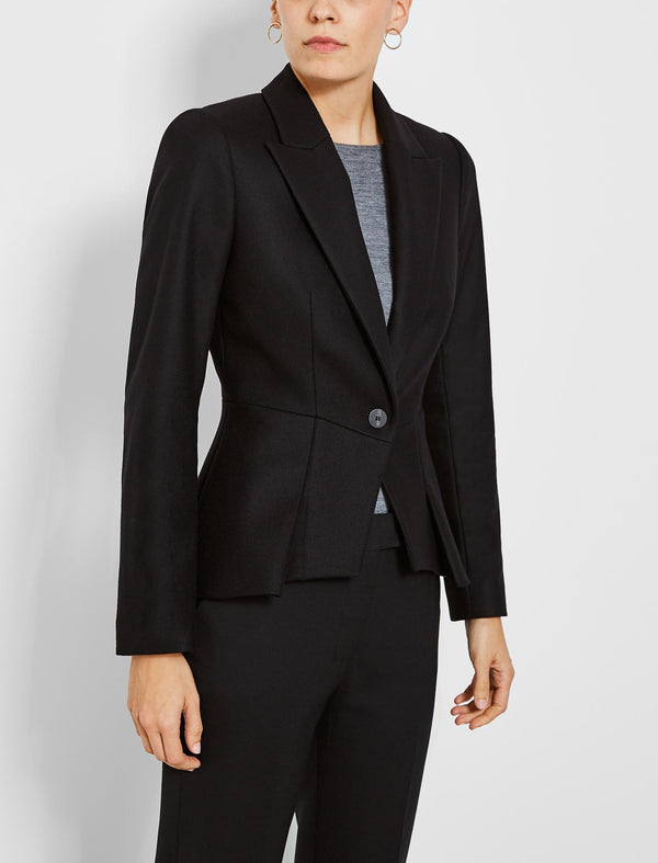 Audrey Felted Wool Peplum Jacket - Black