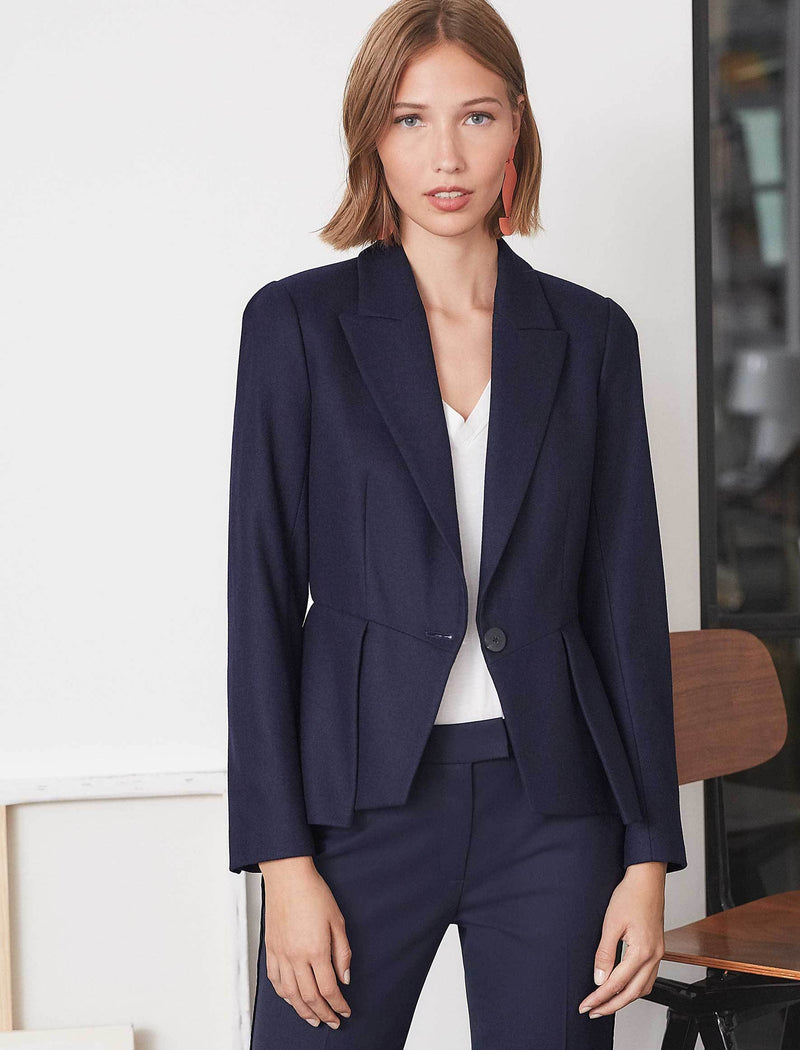 Audrey Felted Wool Peplum Jacket - Navy