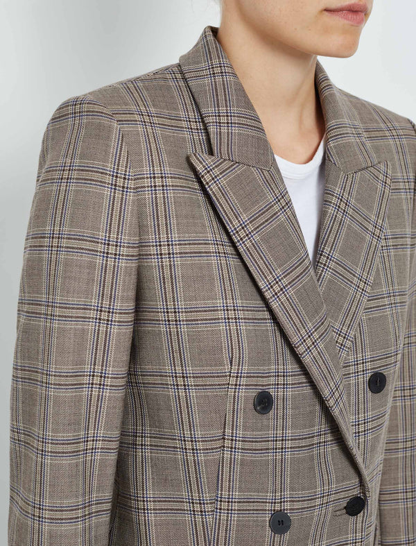 Logan Wool Blend Double Breasted Blazer - Brown Prince of Wales Check