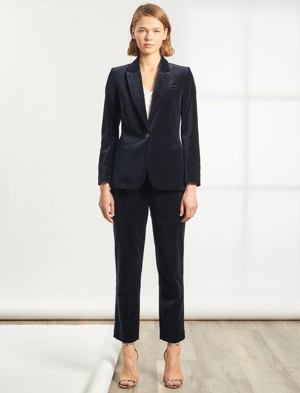 Jamie Cotton Velvet Blazer - Navy