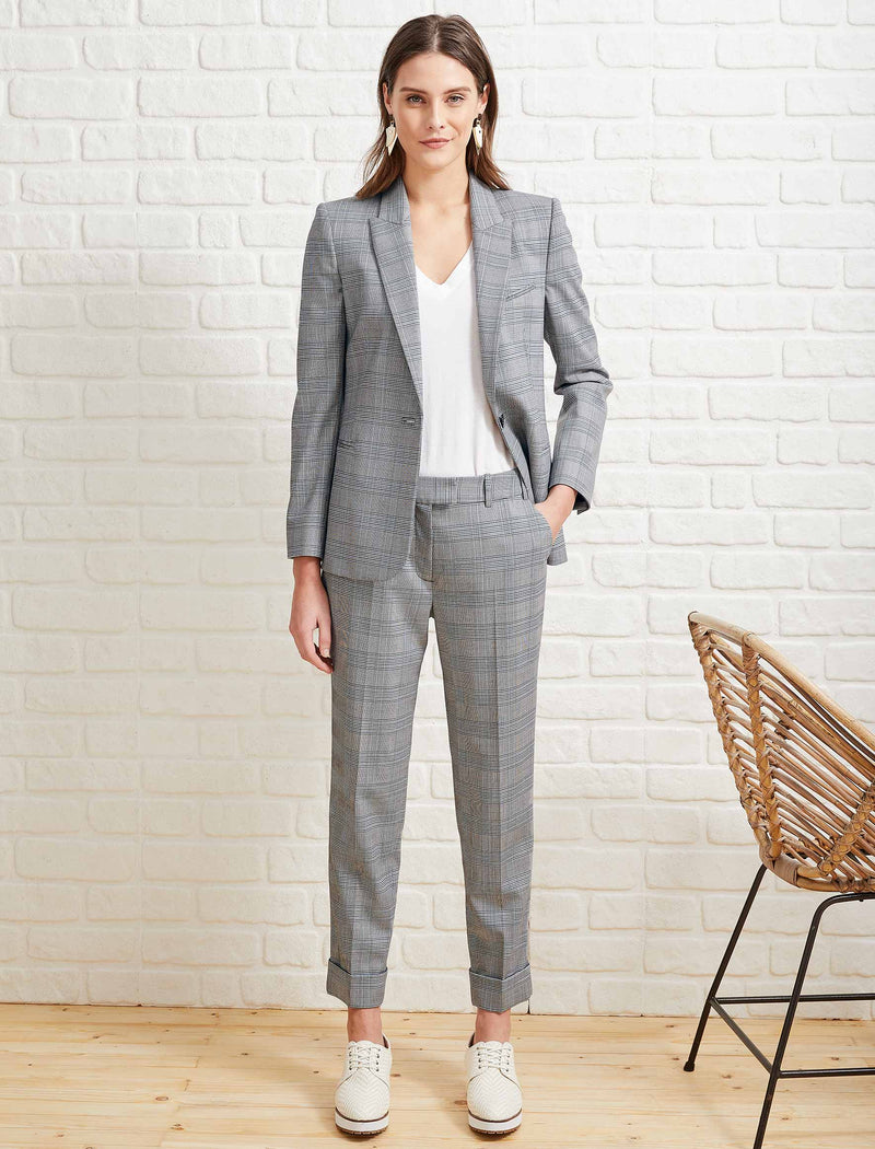 Jamie Stretch Wool Blend Blazer - Grey Prince of Wales Check