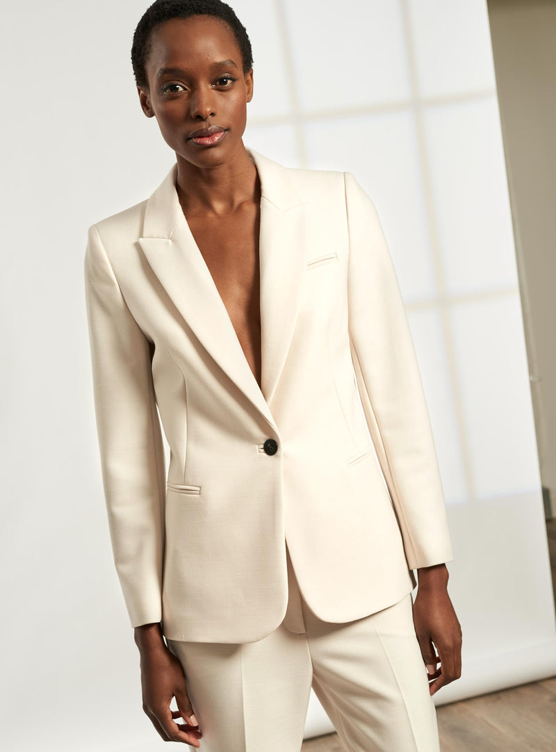 Jamie Stretch Italian Wool Blend Blazer - Cream