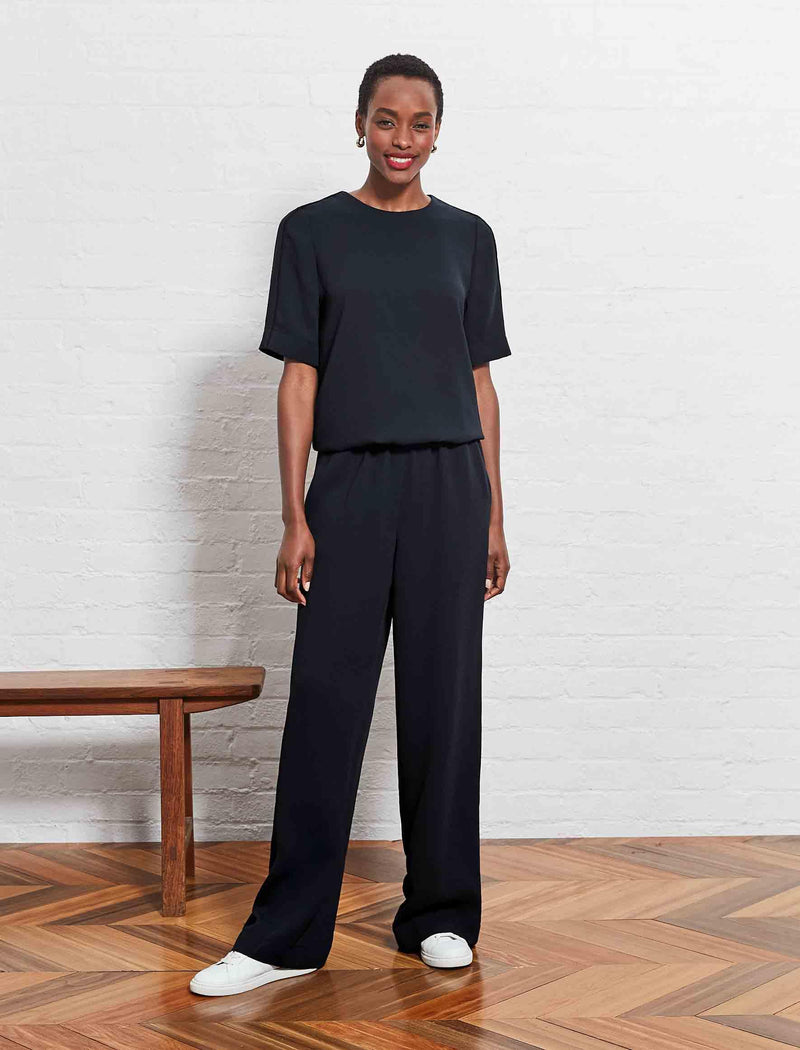 short sleeve jumpsuit black