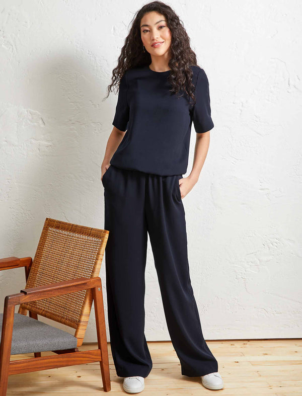 Jennifer Short Sleeve Gathered Waist Jumpsuit - Navy