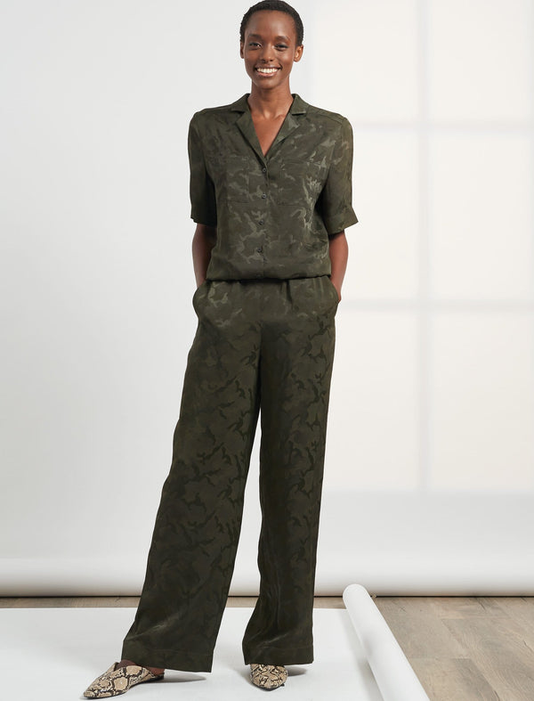 Spencer Short Sleeve V Neck Pocket Detail Camo Jacquard Jumpsuit - Khaki