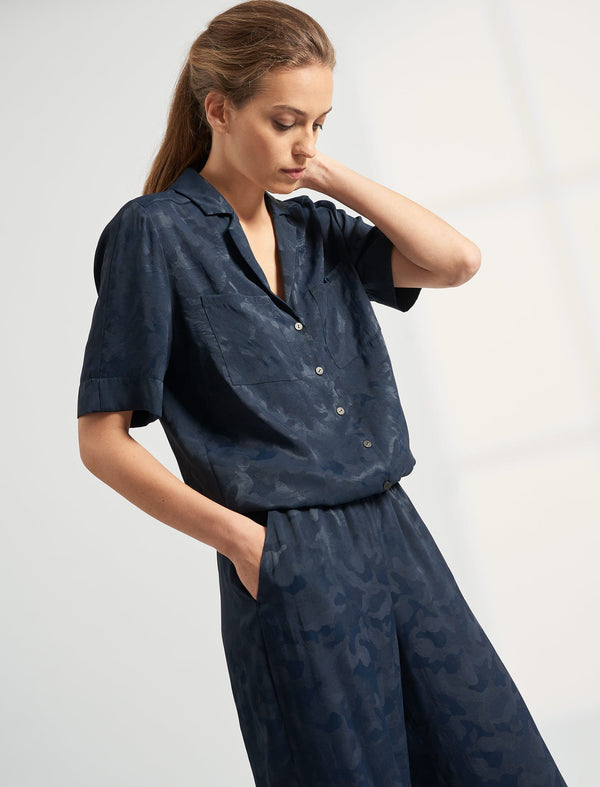 Spencer Short Sleeve V Neck Pocket Detail Jumpsuit - Navy