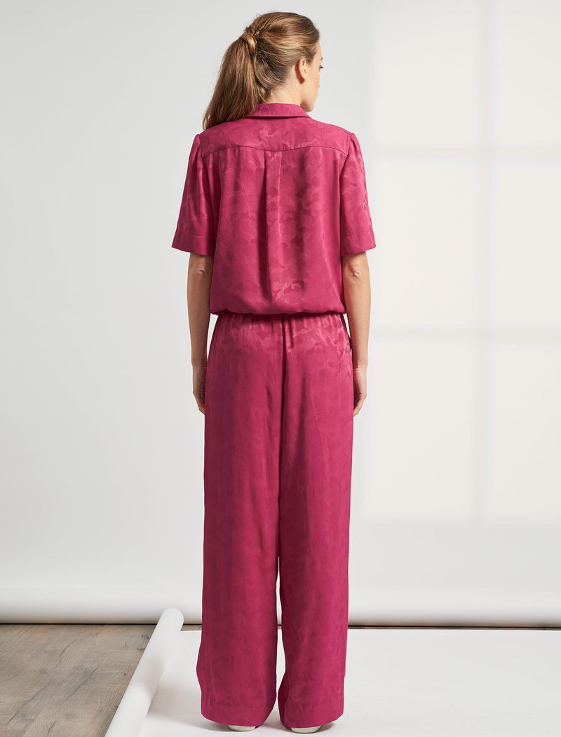 Spencer Short Sleeve V Neck Pocket Detail Jumpsuit - Fuschia Pink