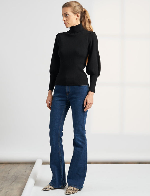 Eva Blouson Sleeve Roll Neck Jumper - Black