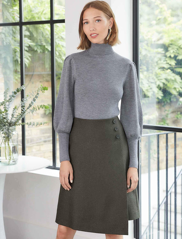 Eva Blouson Sleeve Roll Neck Jumper - Light Grey | Grey Roll Neck Jumper