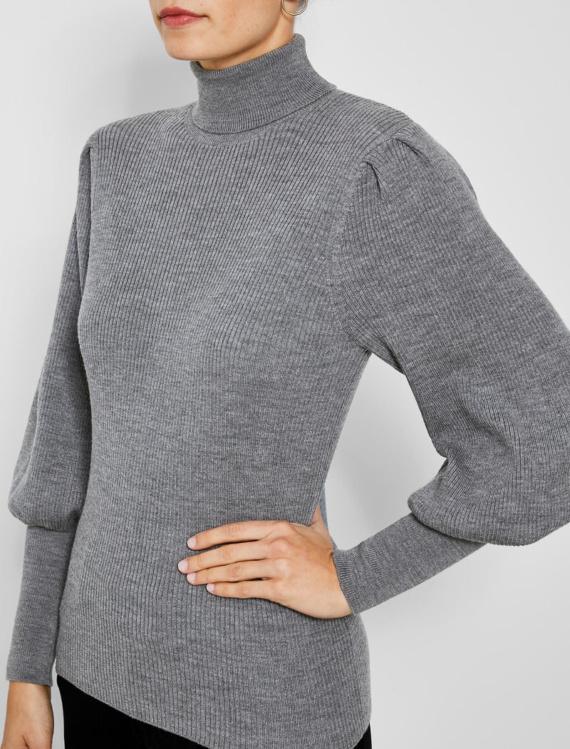 Eva Blouson Sleeve Roll Neck Jumper - Light Grey
