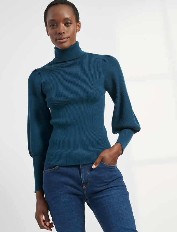 Eva Blouson Sleeve Roll Neck Jumper - Petrol Blue