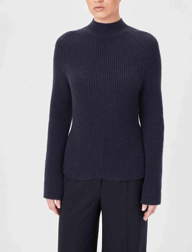 navy chunk knit wool jumper for women