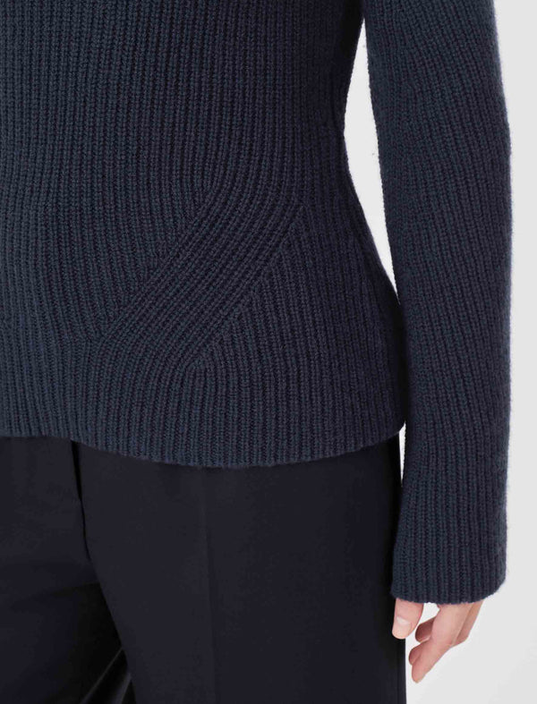 Christie Chunky Knit Funnel Neck Jumper - Navy