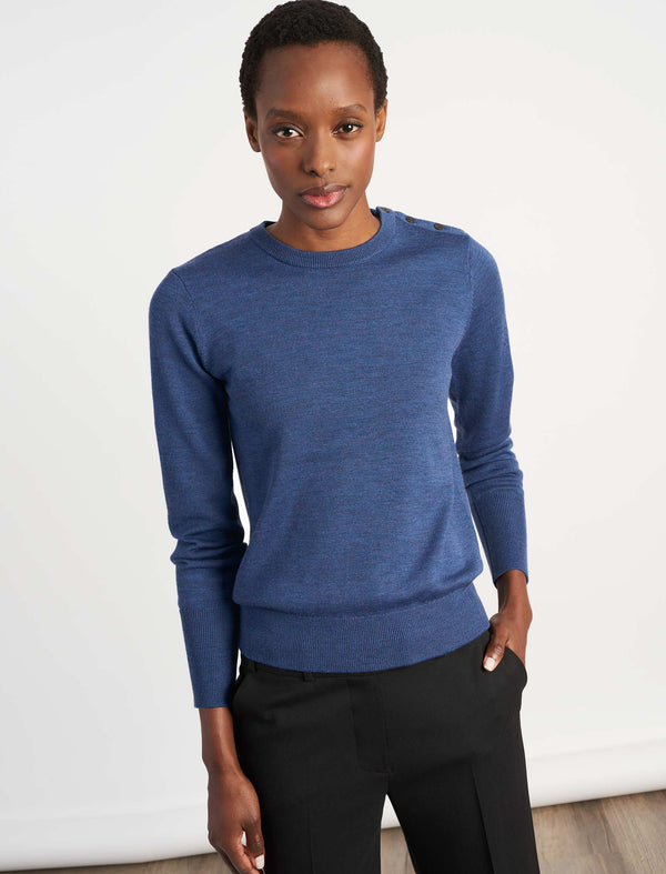 Jenna Button Detail Jumper - Cornflower Blue
