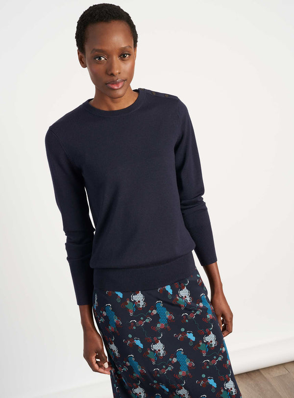 Jenna Button Detail Jumper - Navy