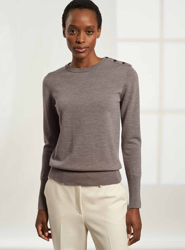 Jenna Button Detail Jumper - Taupe