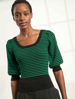 Ulla Blouson Short Sleeve Jumper - Emerald Green/Black Stripe