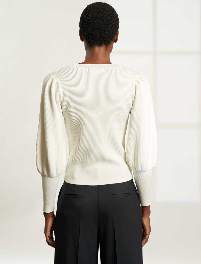 Eva Blouson Sleeve Cardigan - Cream