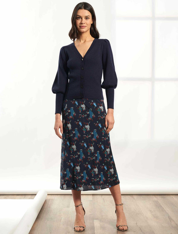 Aria Bias Cut Midi Skirt - Navy Spiral Clouds Print