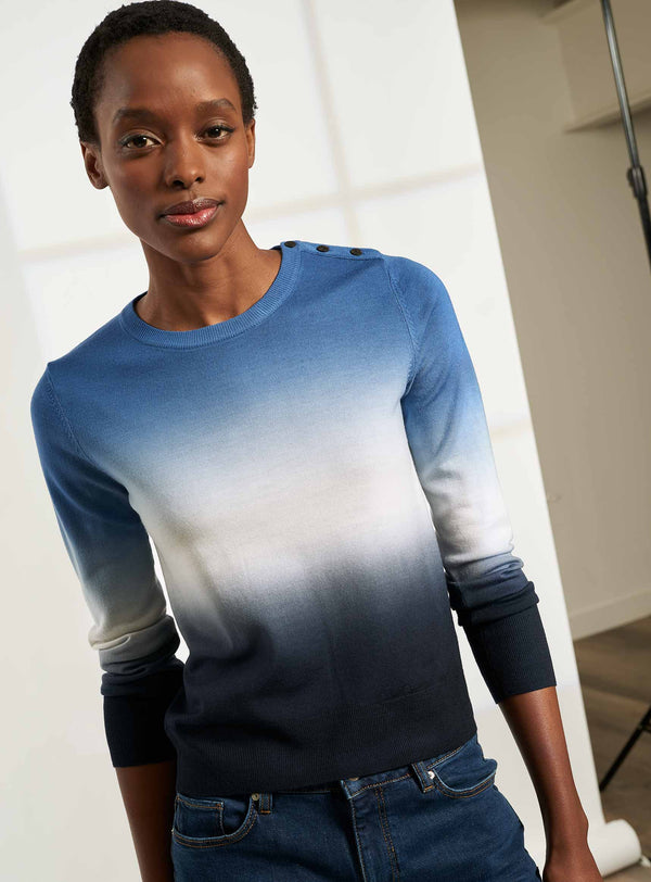 Jenna Ombre Classic Crew Neck Jumper - Cornflower Blue / Navy Ombre
