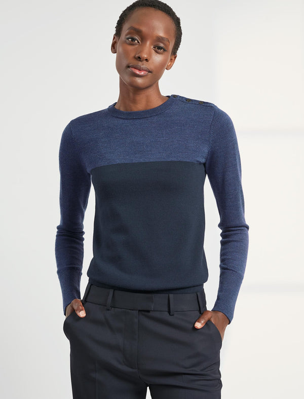 Jenna Colour Block Jumper - Cobalt/Navy
