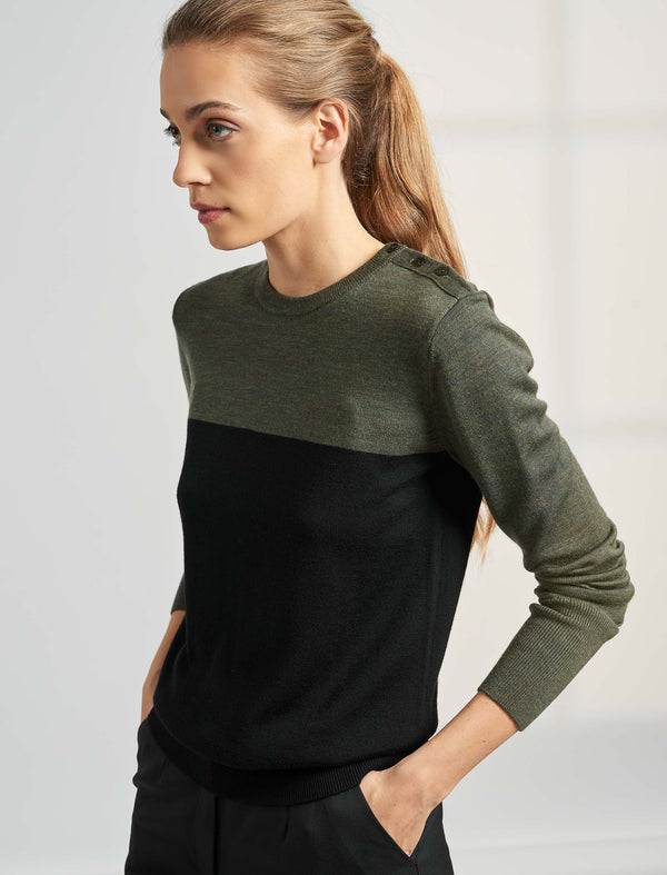 Jenna Colour Block Jumper - Khaki/Black