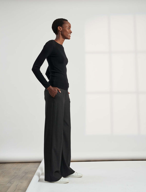 Terrence Wide Leg Stretch Wool Blend Elasticated Trousers - Charcoal