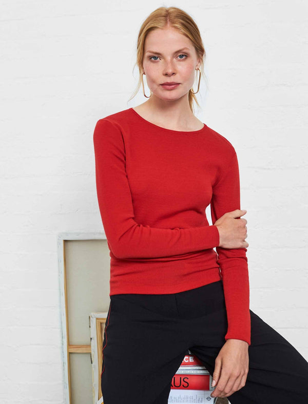 Freda Round Neck Jumper - Crimson