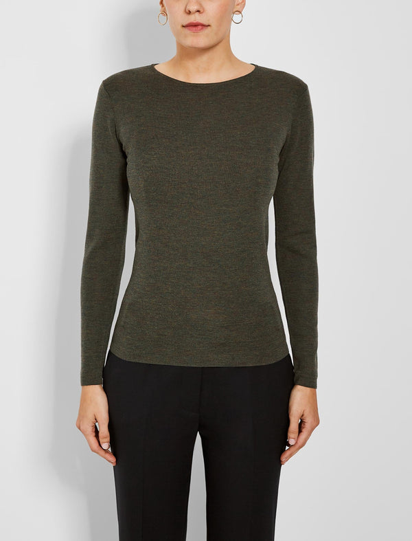 Freda Round Neck Fitted Jumper - Khaki