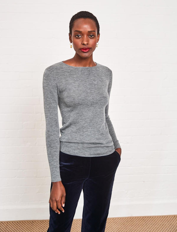 Freda Round Neck Jumper - Light Grey