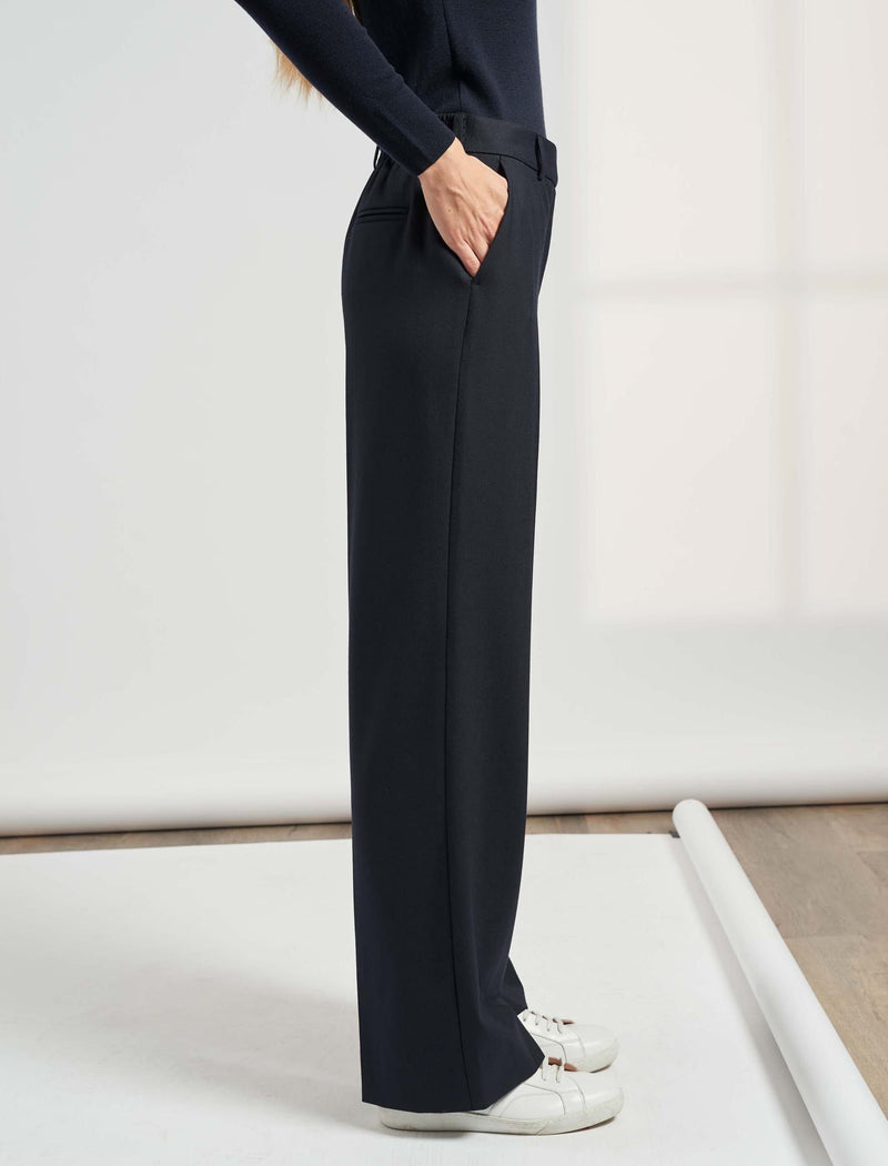 Terrence Wide Leg Stretch Wool Blend Elasticated Trousers - Navy
