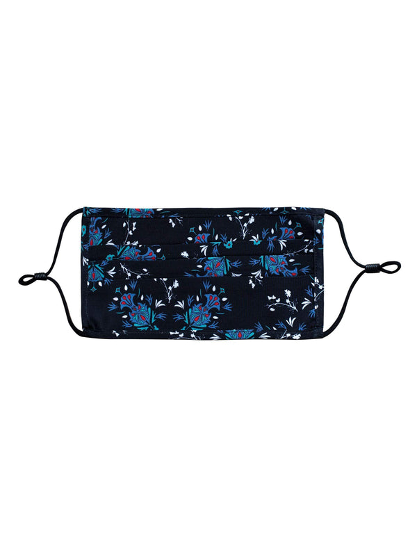 Silk Face Mask - Navy/Cornflower Floral