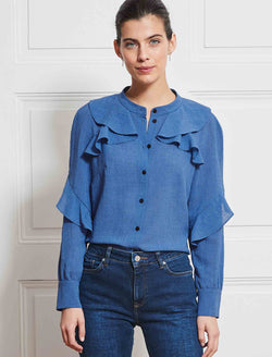 blue ruffle shirt