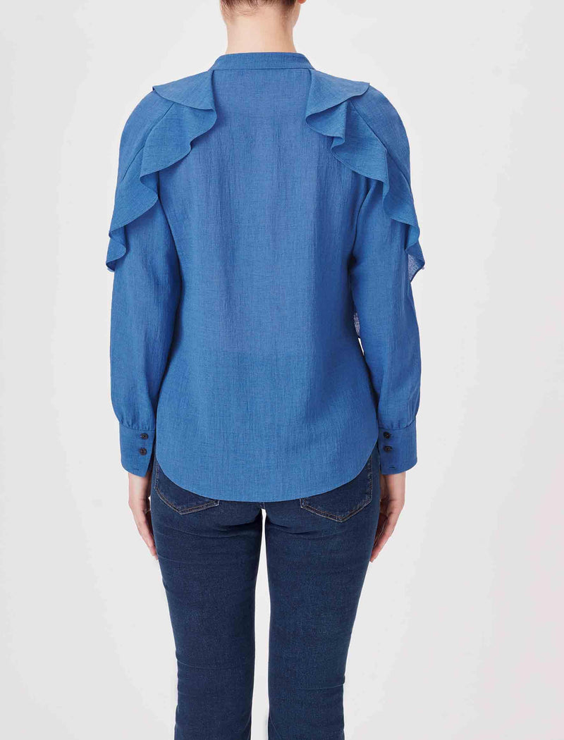 blue ruffle tops uk