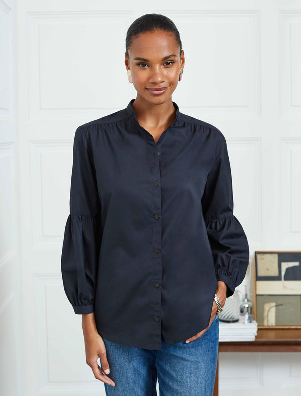 Ella Cotton Gathered Blouson Sleeve Shirt - Navy