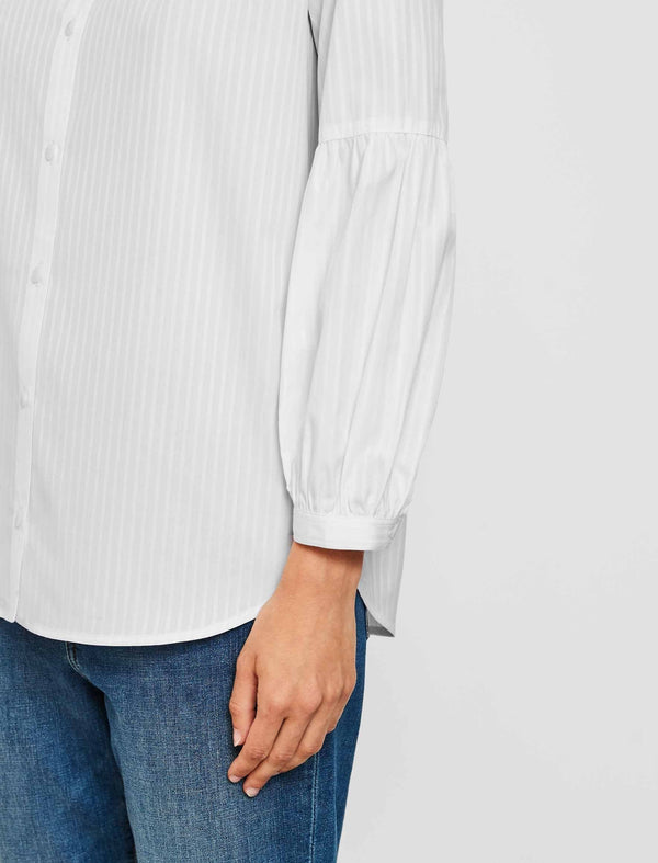 Ella Cotton Gathered Blouson Sleeve Shirt - White