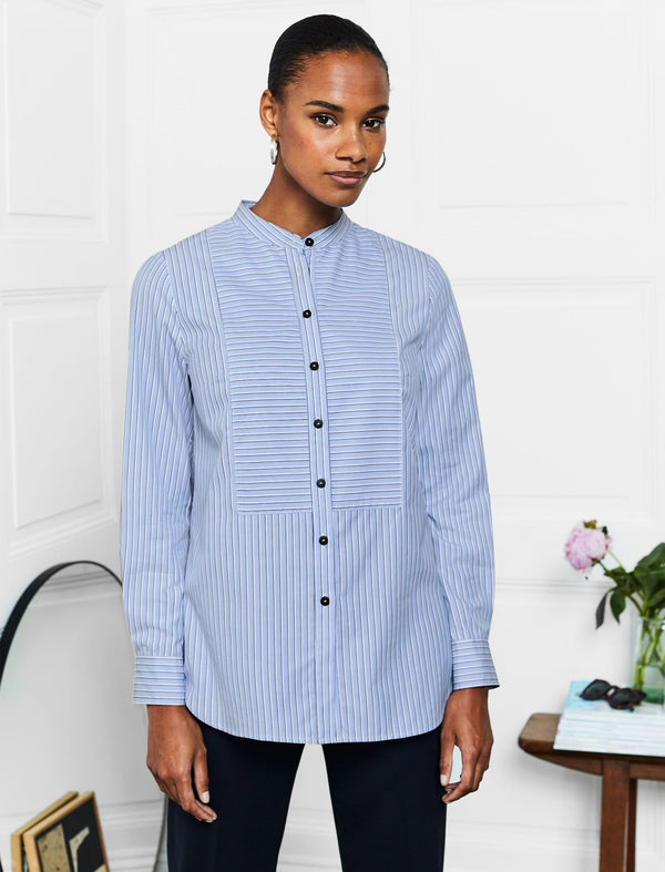 Callie Cotton Bib Front Collarless Shirt - Blue/White