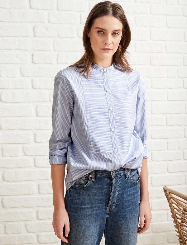 Callie Cotton Bib Front Collarless Shirt - Light Blue/White Stripe