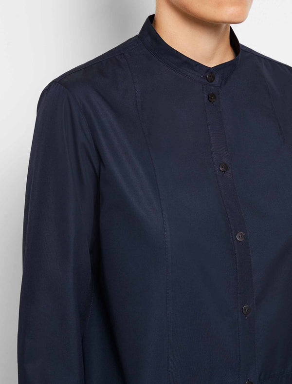 Callie Cotton Bib Front Collarless Shirt - Navy