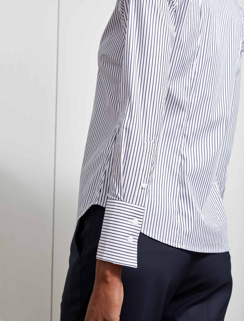 Elliot Classic Stretch Fitted Shirt - Navy/White Stripe