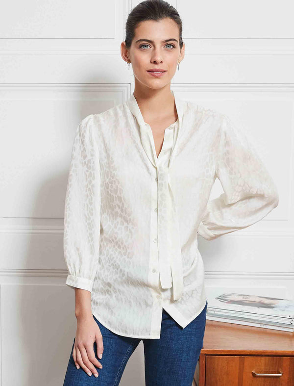 Willow Silk Blend Pussy-Bow Shirt - Cream Leopard Jacquard