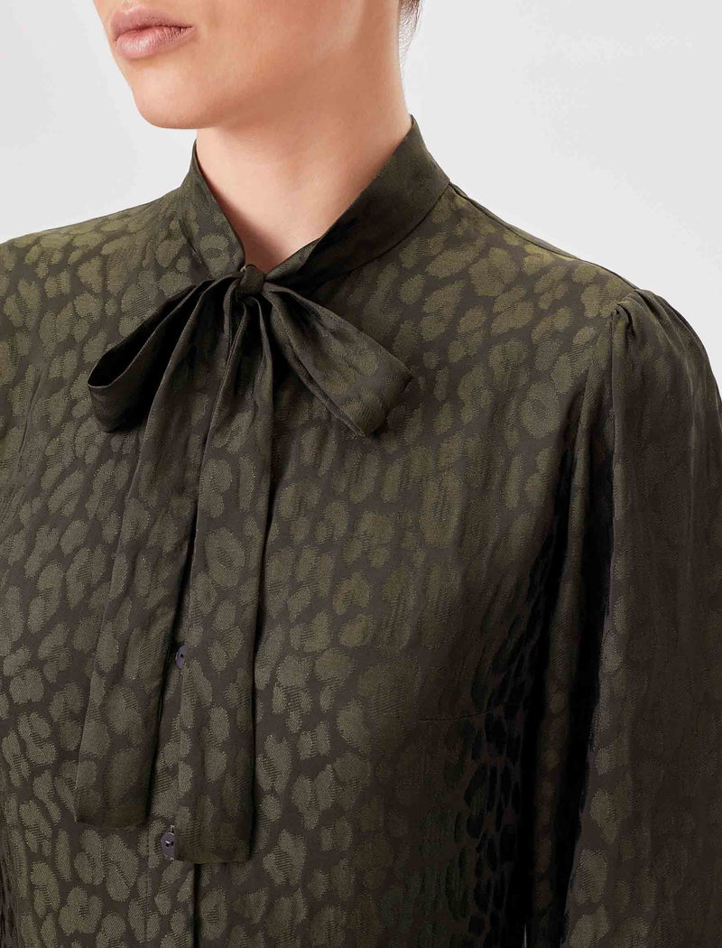 Willow Silk Blend Pussy-Bow Shirt - Khaki Leopard Jacquard