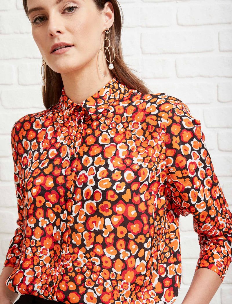 Skyla Long Sleeve Shirt - Burnt Orange Leopard Pansy