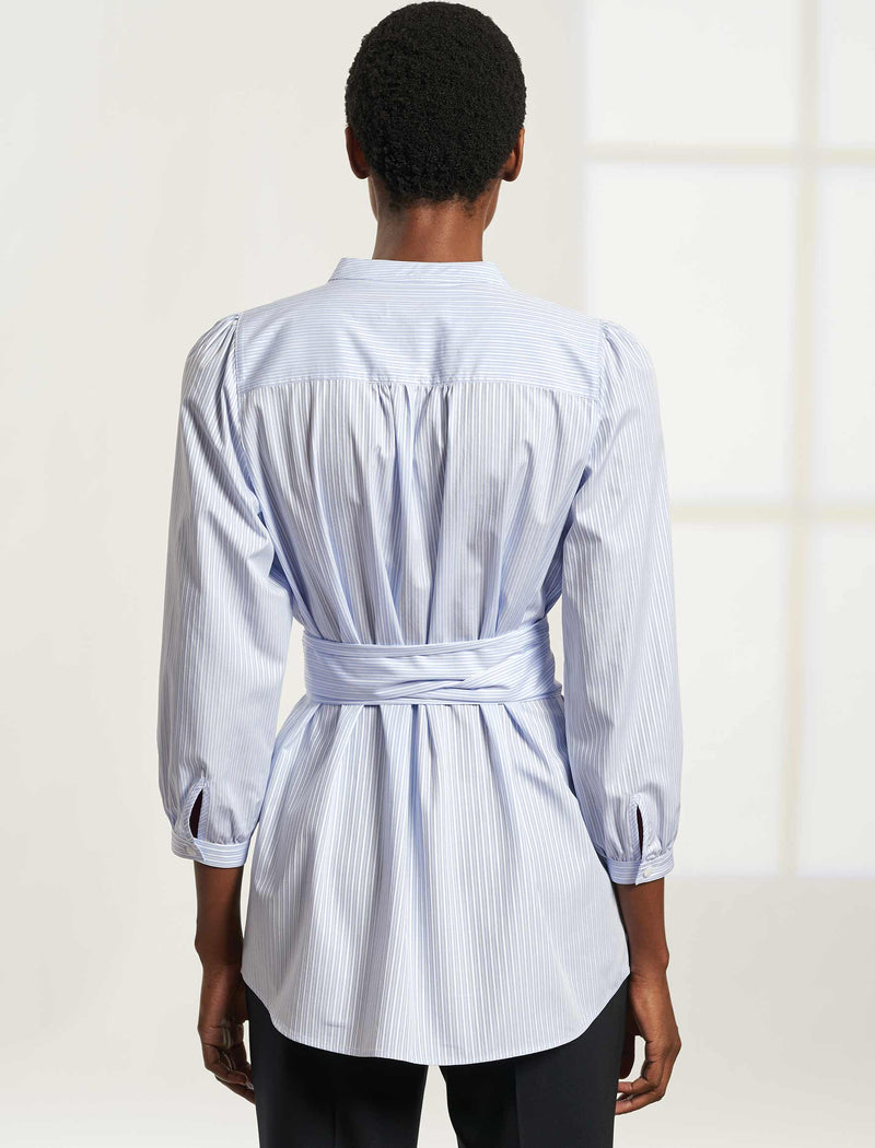 Stevie Long Line Tunic Shirt with Sash Belt - Light Blue / White Stripe